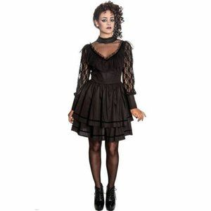 Hell Bunny  Lace Collared Black Tulle Dress XS